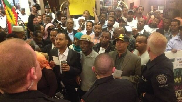 More than 100 people gathered at a consul presentation in downtown Calgary Sunday to protest the Ethiopian government.