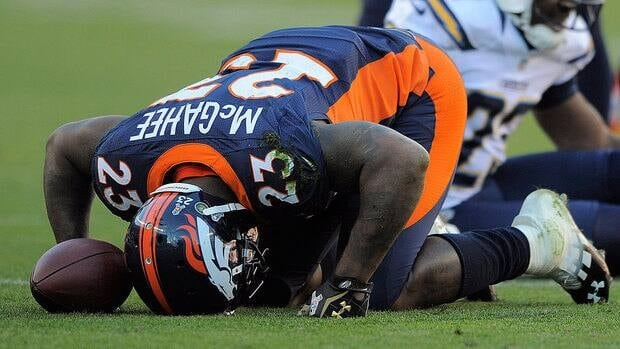 Backups Ronnie Hillman and Lance Ball are expected to share Willie McGahee's spot in the Broncos backfield. McGahee tore a ligament on this play against the Chargers in the second quarter on Sunday.