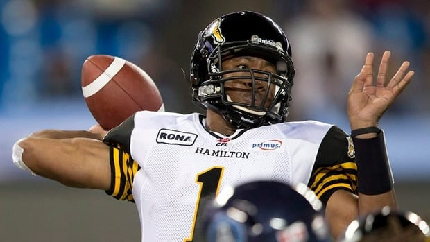 Hamilton Tiger-Cats quarterback Henry Burris throws against the Toronto Argonauts during CFL action last week.