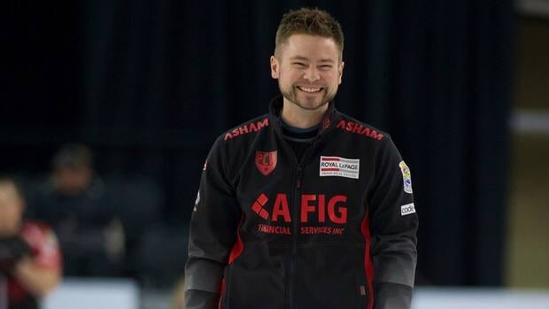 Mike McEwen smiles during action at the National Grand Slam of Curling in Port Hawkesbury, Nova Scotia on Saturday. McEwen will face Jeff Stoughton's rink in Sunday's final.