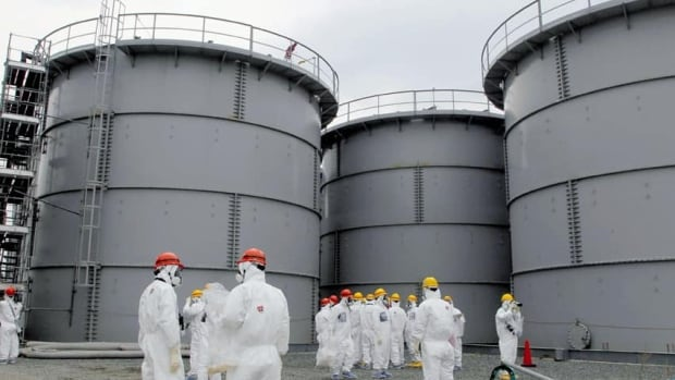 Tanks of radiation-contaminated water are seen at the tsunami-crippled Fukushima Daiichi nuclear power complex. About 300,000 litres of contaminated water has leaked from one of the steel tanks.
