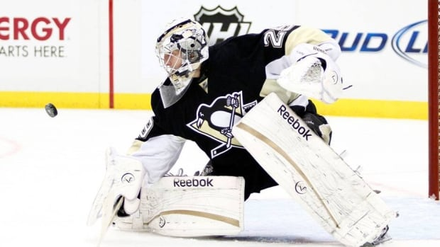 Pittsburgh Penguins' goalie Marc-Andre Fleury made 26 saves for his sixth career playoff shutout in Wednesday's 5-0 win over the New York Islanders.