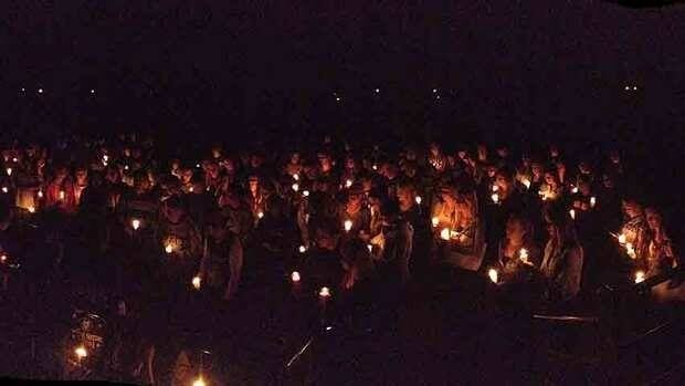 This was the scene outside Saltfleet District High School Monday night, when students and community members gathered to mourn the deaths of Shawn Bell, 17, and Steve Last, 42.