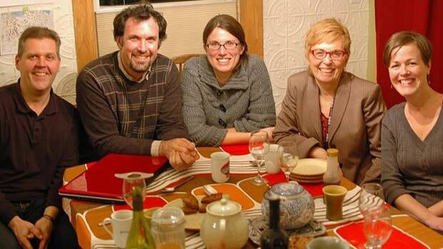 The founders of the Mustard Seed Co-op celebrated their incorporation at a potluck recently. Pictured (from left) are directors Richard Adshead, Graham Cubitt, Emma Cubitt, Jacqueline Norton and Lynda Dykstra.