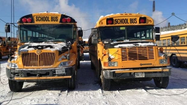 A pair of school buses sit at a storage yard before bringing children home from school. (CBC)