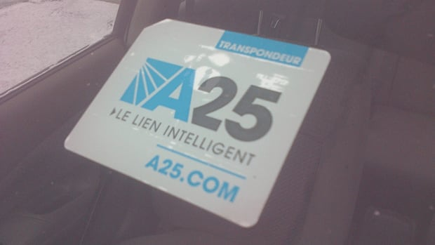 A transponder for the new A25 bridge connecting Montreal to Laval. Some users say the transponder doesn't work, and they are still charged the same fees as those who don't have a transponder.