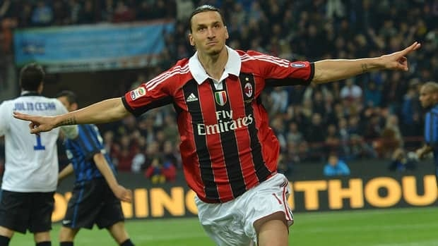 Zlatan scoring for AC Milan