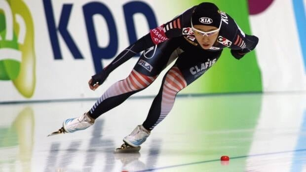 Sang-Hwa Lee of South Korea, seen here competing in December, set a new world record in the women's 500 metres in Calgary on Sunday.