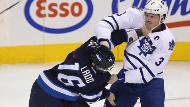 Being former world junior teammates didn't stop Winnipeg captain Andrew Ladd and Toronto counterpart Dion Phaneuf from dropping the gloves in what could be a possible playoff preview.