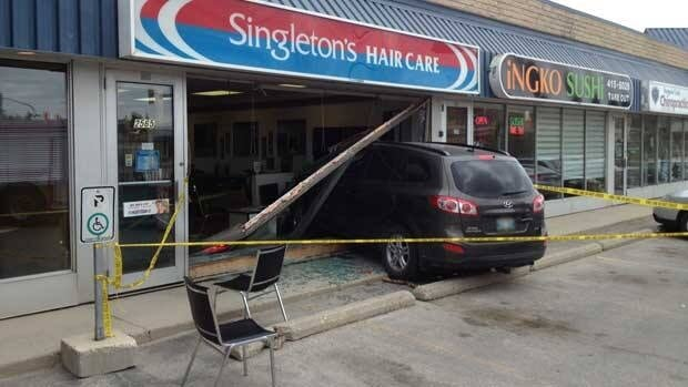 This sport-utility vehicle smashed through the window of the Singleton's Hair Care salon on Portage Avenue and Moray Street on Monday. No one appeared to be seriously hurt.