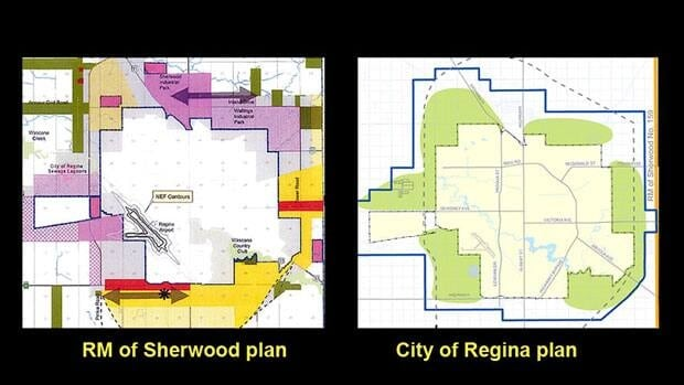 The RM of Sherwood's Official Community Plan provides considerable detail on its development goals. Regina's plan shows areas, in green, of interest to the city.