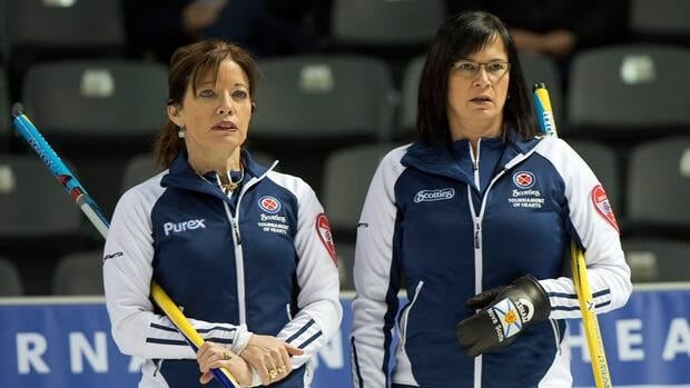 Nova Scotia vice-skip Colleen Jones, left, and skip Mary-Anne Arsenault during the eighth draw against the Northwest Territories Tuesday, February 19, 2013.