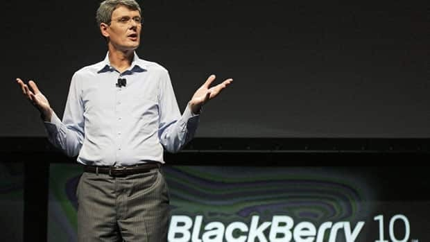 Research in Motion CEO Thorsten Heins speaks about the new BlackBerry 10 at the BlackBerry Jam Americas conference in San Jose, Calif., Tuesday.