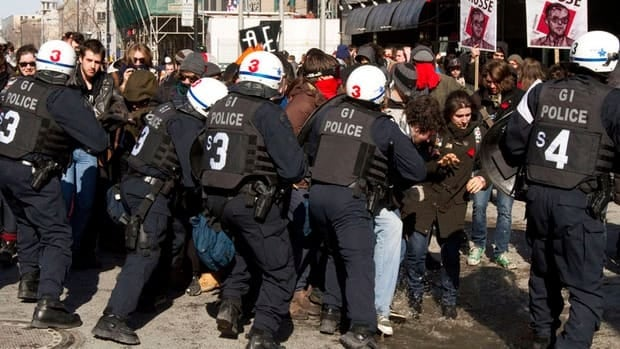 Students clashed with police during the protest in downtown Montreal Wednesday.