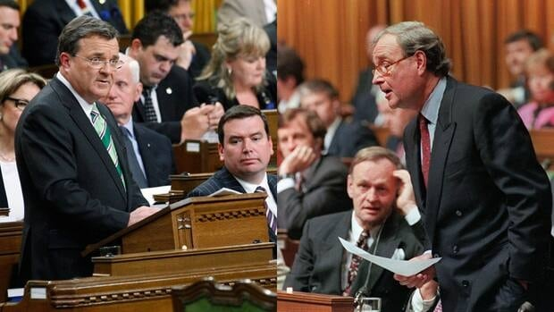 Ministers of Finance Jim Flaherty, left, on June 6, 2011 and Paul Martin on Feb. 28, 1995 deliver their budgets in the House of Commons in Ottawa. After Flaherty presents his new budget on March 29, expect comparisons to Martin's 1995 austerity budget.