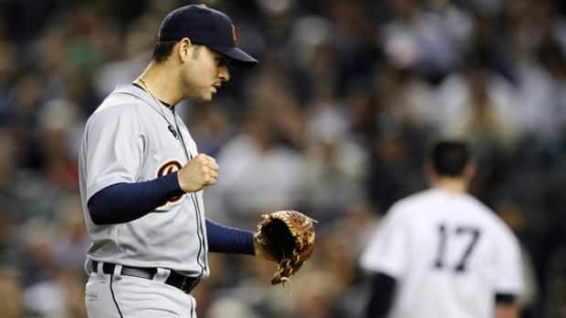 Detroit Tigers starter Anibal Sanchez reacts after striking out New York's Jayson Nix to end the seventh in Game 2 of the ALCS on Sunday evening.