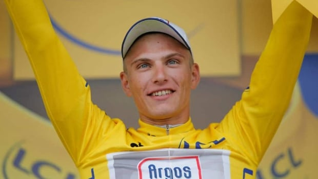 Marcel Kittel of Germany wears the overall leader's yellow jersey after winning the first stage of the Tour de France on Saturday.