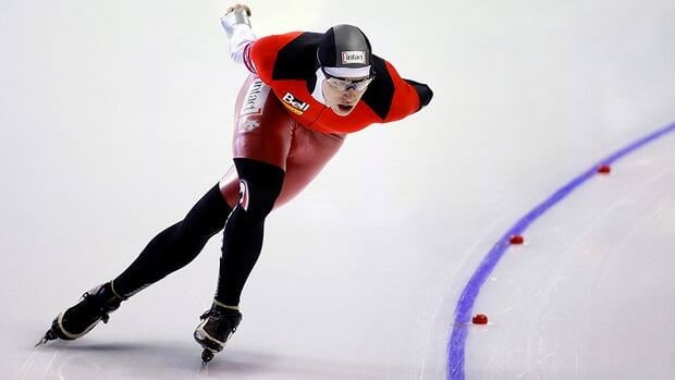 Mathieu Giroux, from Montreal, Que., is seen here skating during the men's 5000 metre event at the World All-round long-track speedskating championships in Calgary, Alta.