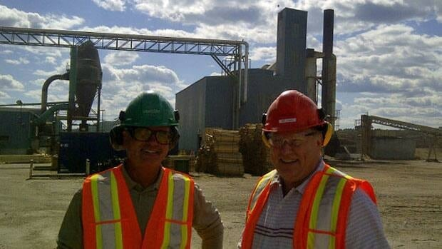 Eacom vice-presidents Brian Nicks and Mel Lemky say business is good with a stronger market for lumber, but note the pulp and paper industry is still an important mainstay for the mill's leftover wood.