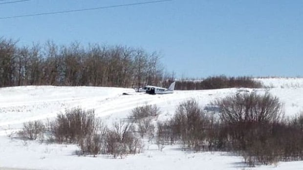 The Piper Cherokee 6 crashed near some trees in a snowy field north of Kisbey, Sask.