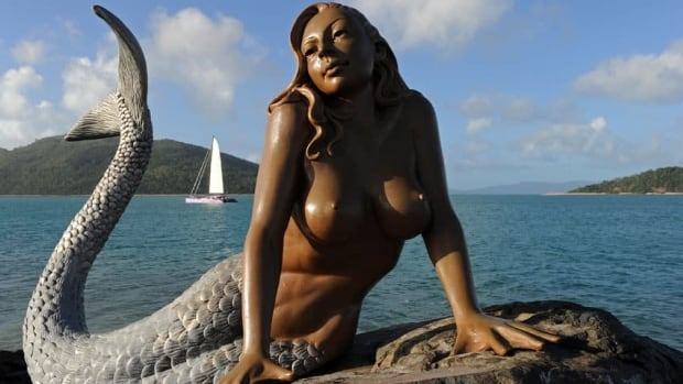 A mermaid sculpture on Daydream Island in the Whitsundays archipelago off Queensland, Australia.