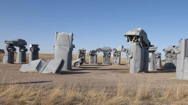Carhenge, a western Nebraska tourist site, is made up of 38 automobiles arranged in a circle to closely resemble the stones at England's Stonehenge.