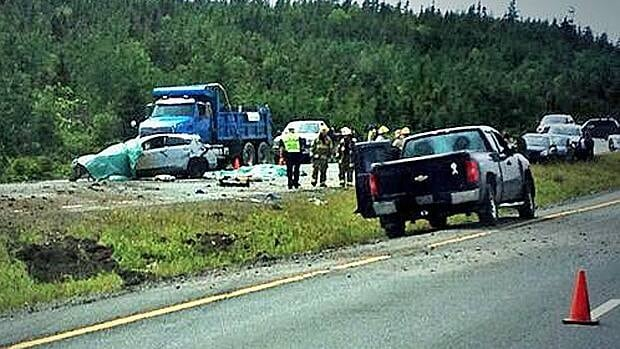 A woman was killed as a result of this accident on the Manuels Access Road Tuesday afternoon.