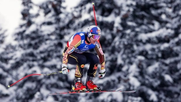 Erik Guay is seen in this February file photo during a training session before the men's downhill at the world alpine skiing championships in Schladming.