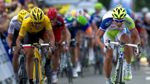 Peter Sagan, right, sprints as he wins ahead of Fabian Cancellara at the end of the first stage of the 2012 Tour de France.