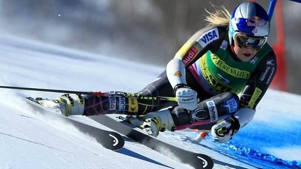 Lindsey Vonn skis the first run of the women's giant slalom at the FIS Ski World Cup at Aspen Mountain on Saturday in Aspen, Colo.