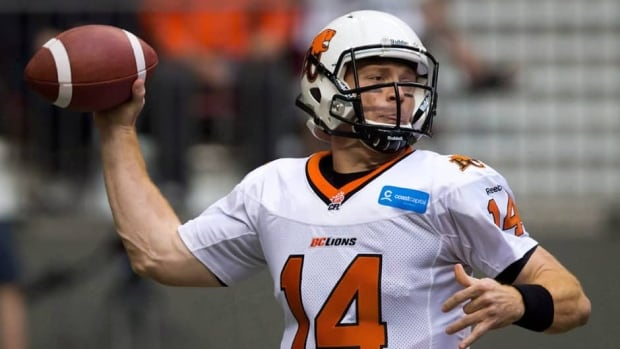 B.C. Lions quarterback Travis Lulay during a pre-season game against the Edmonton Eskimos in Vancouver, B.C., on Friday June 21, 2013.