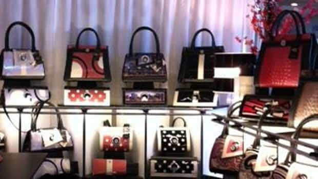 The Michique Handbags booth at the Mode Accessories Show in Toronto.