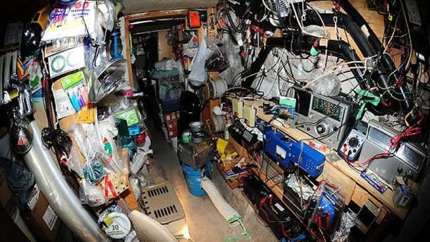 Police released this photograph of the interior of Feldhoff's bunker in the backyard of his Barrie, Ont., home where dozens of explosive devices were found in 2012. (Barrie Police Service)