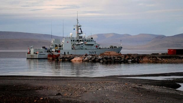The HMCS Goose Bay is moored at the future site of the Nanisivik Naval Facility during the 2010 military Operation Nanook. Northern Development Minister Bernard Valcourt is asking the military to clarify parts of the proposal for the facility and then re-submit it to Nunavut regulators for review.