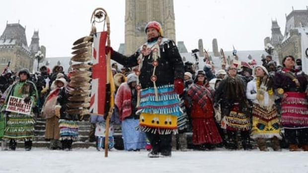 Underlying issues for recent protests across Canada include finance and funding for First Nations. Native dancers rally during an 'Idle No More' gathering on Parliament Hill in Ottawa, Jan. 28.