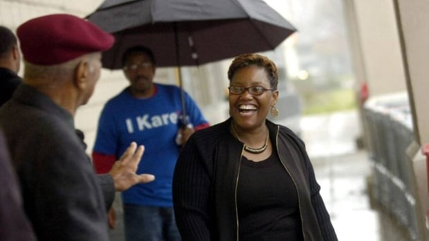 Gary, Indiana, Mayor Karen Freeman-Wilson is shown campaigning in 2011. She has spearheaded a plan to offer abandoned homes in the city for $1.