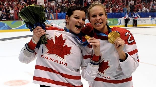 Sarah Vaillancourt, left, seen celebrating with Tessa Bonhomme after her second Olympic gold medal, first joined the Canadian national team in 2005.