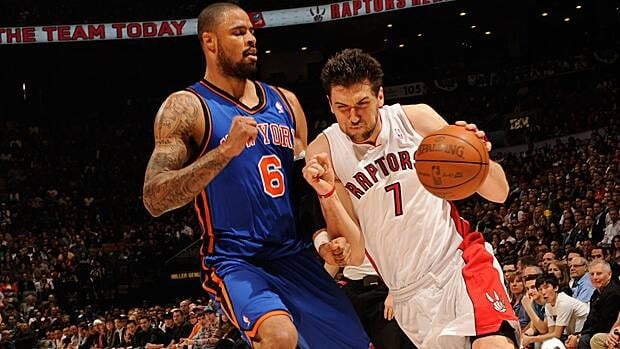 Andrea Bargnani, left, seen battling Tyson Chandler of the New York Knicks in a past game, couldn't meet expectations in Toronto.