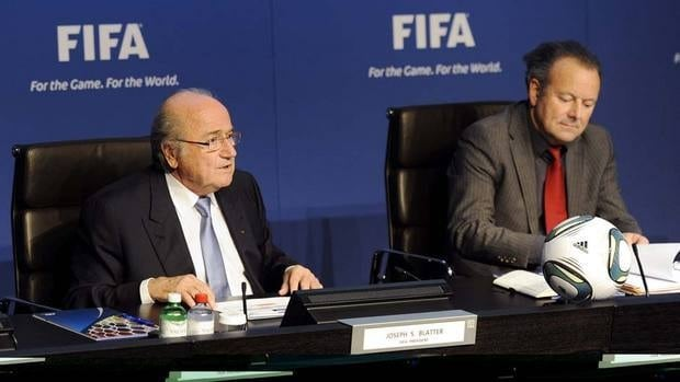 Chairman of the Independent Governance Committee Mark Pieth, right, said FIFA boss Sepp Blatter, left, cited legal reasons for 'repeatedly' denying his requests to see the document on which soccer officials took millions of dollars from a marketing agency.