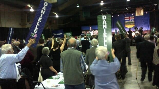 Wildrose members applaud in advance of leader Danielle Smith's speech at the party's AGM Saturday.