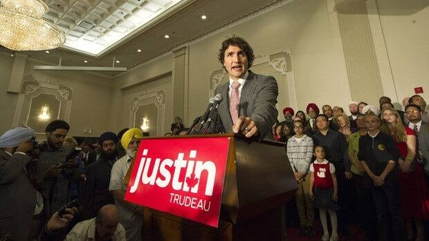 Justin Trudeau brought his newly minted Liberal leadership campaign to Mississauga Thursday night, making a brief stop in a place where Conservatives made huge gains in the last election.
