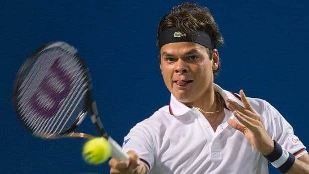 Milos Raonic puts some body English into a return during his semifinal victory on Saturday at the SAP Open tennis tournament in San Jose.