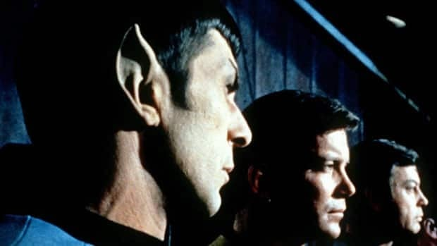 In the original Star Trek TV series, Vulcan was the home planet of pointy-eared humanoids such as Mr. Spock, played by Leonard Nimoy (far left). Canadian actor William Shatner, who played Captain Kirk (centre), proposed the name for one of Pluto's moons.