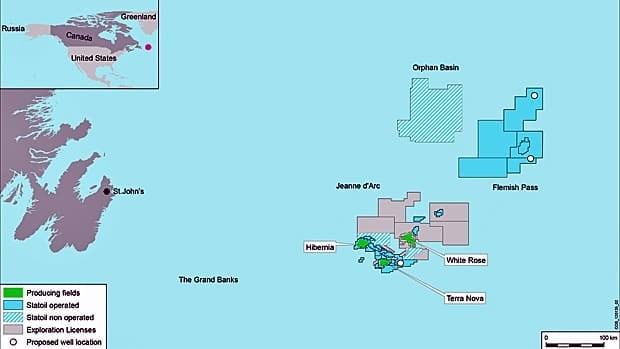 Statoil's acreage and planned exploration wells in the Newfoundland offshore. Mizzen is located in the Flemish Pass.