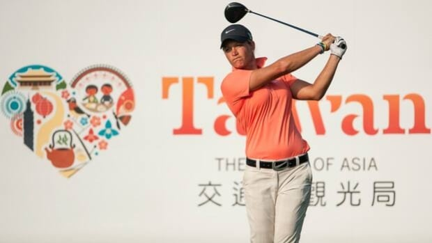 Suzann Pettersen hits from the the 17th tee box in the LPGA Taiwan Championship on Friday.