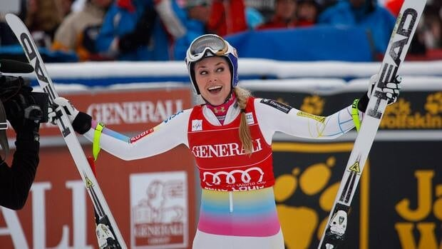 Lindsey Vonn reacts in the finish area following her run at the women's World Cup downhill ski race in Lake Louise, Alta., Saturday, Dec. 1, 2012.