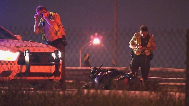 Police say the driver of the motorcycle was thrown from his vehicle in the crash.