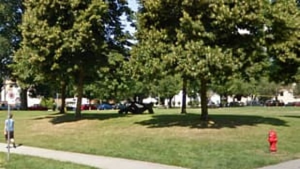 Vancouver's parks board is considering options for relocating a guerilla-art sign inspired by the driftwood sculpture Reclining Figure, by Michael Dennis, in Mount Pleasant's Guelph Park.