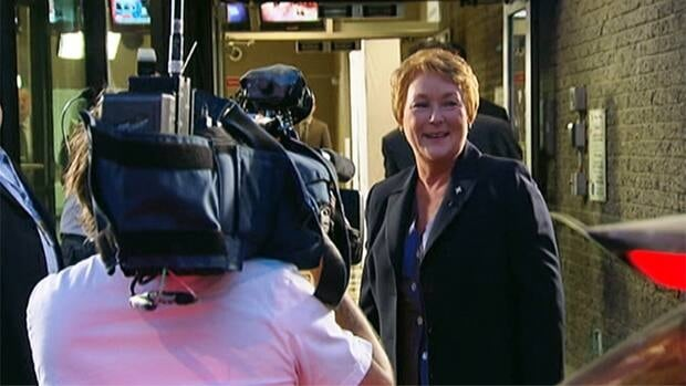 Pauline Marois arrives at TVA's studios Wednesday for her debate with François Legault.
