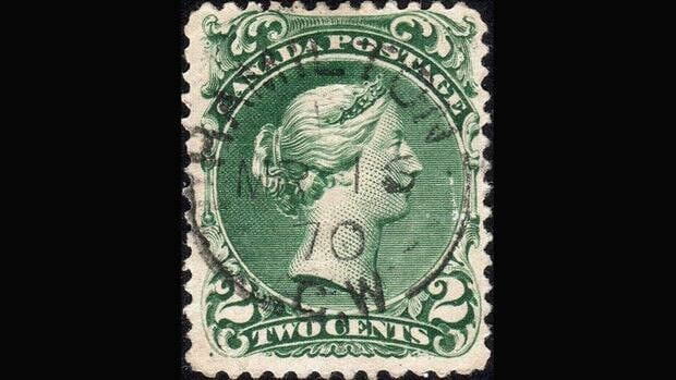 A Canada Two Cent Large Queen stamp on laid paper, Scott #32, is shown in a recent photo from the Vincent Graves Greene Philatelic Research Foundation. The recently discovered third known copy of the stamp is estimated by some to be worth as much as $1 million.